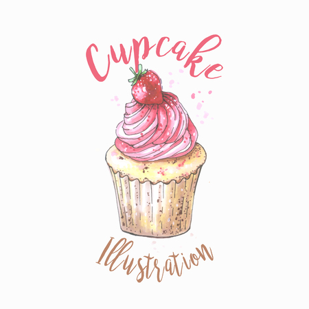 Hand drawn vanilla cupcake with cherry on top, vintage colorful food sketches, isolated on white background. Vector illustration.