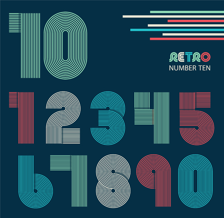 Retro stripes funky numbers set,trendy elegant retro style design. Vector design.