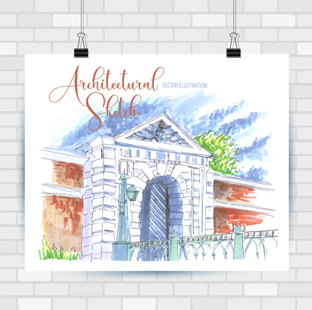 Architectural sketch landscape. Hand drawn illustration. Vector background.