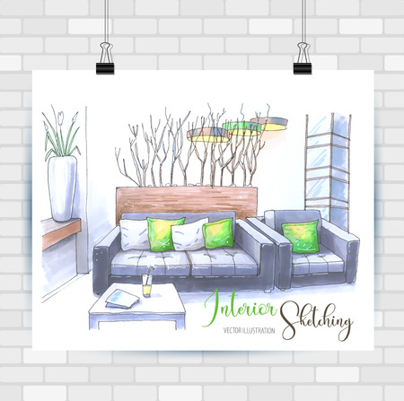 Interior scetching. Hand drawn illustration. Vector background. Çizim