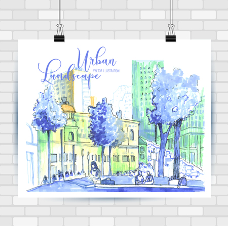City sketch in hand drawn style. Travel inspiration. Stockfoto - 122480526