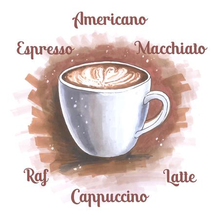 Cup of coffee in sketch og hand drawn illustration Illustration