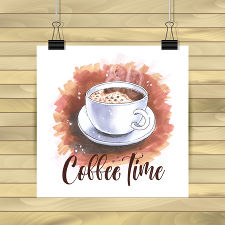 Cup of coffee in sketch og hand drawn illustration isolated 일러스트