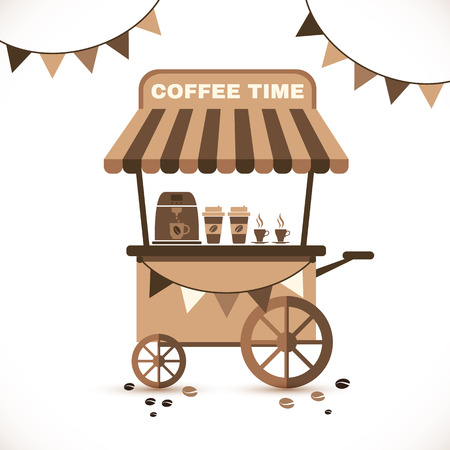 Illustration Flat Icon Cart of Coffee Isolated on White Çizim