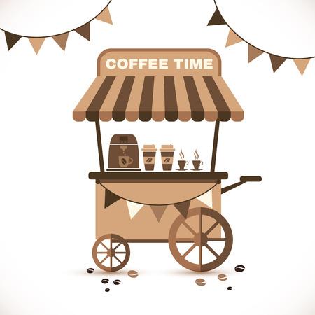 Ilustración plano icono carro de café aislado en blanco