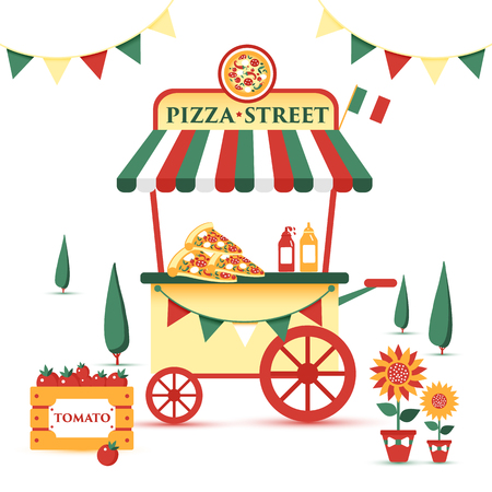 Pizza cart icon in cartoon style isolated on white background. Pizza and pizzeria symbol in vector illustration.