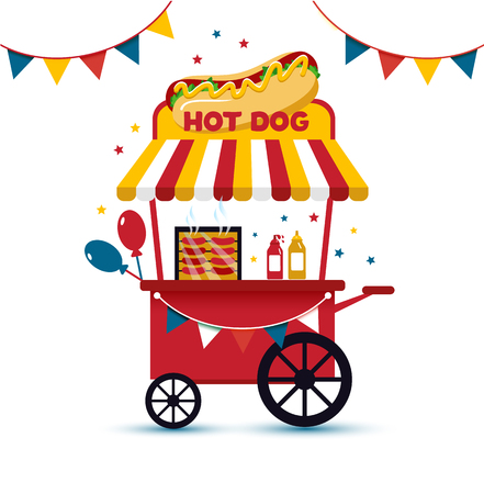Fast food hot dog cart and street hot dog cart. Hot dog cart street food market.