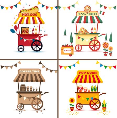 Set of street food with pizza, hot dog, coffee, pop corn. Flat bright illustration. Standard-Bild - 122414334