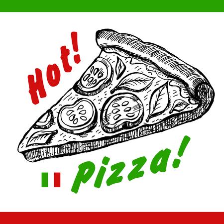 Vector Pizza slice drawing. Hand drawn pizza illustration. Stock Illustratie