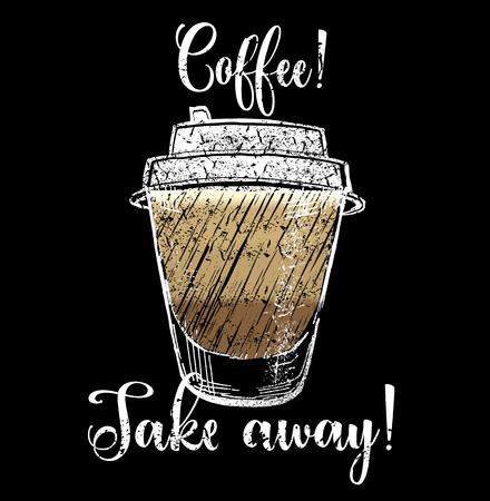 Plastic cup of chocolate coffee hand drawn outline doodle icon. Ilustração