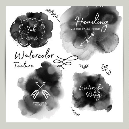 Set of dark gray black watercolor vector circle stains isolated on white background with realistic paper watercolor texture.