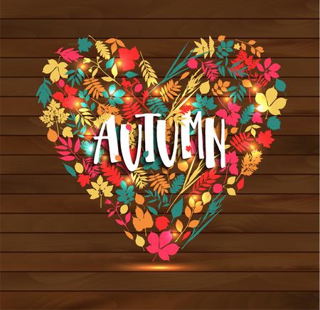 Autumn leaf poster. Orange leaves of maple, september foliage. Stock Vector - 122414350