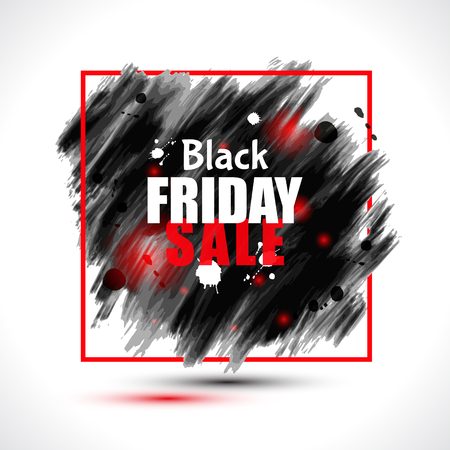 """Vector sale and discount banner with """"Black Friday"""" inscription on abstract ink blots. Ilustracje wektorowe"""