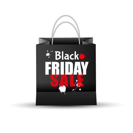 Shopping paper black bag empty-vector illustration.
