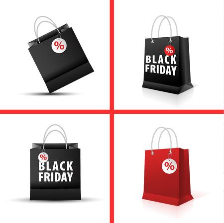 Shopping paper red black bag empty-vector illustration.