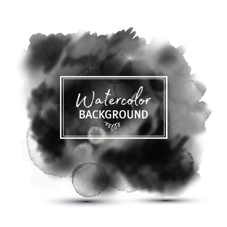 Dark gray black watercolor vector stains isolated on white with realistic paper watercolor texture. Illusztráció