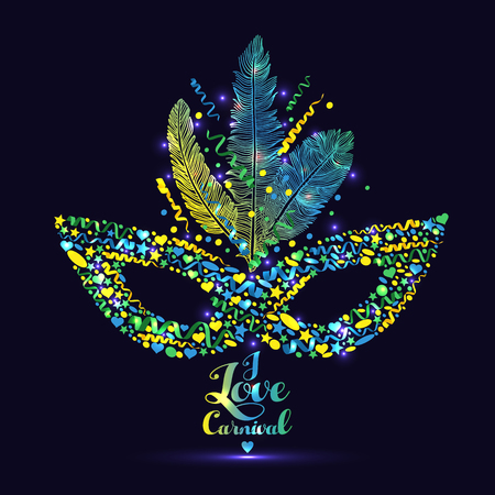 Brazilian Carnival, music festival masquerade template Illustration