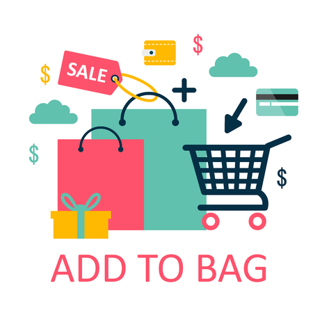 Shopping cart vector shop pushcart trolley shopper or carter with empty basket and bag Illustration