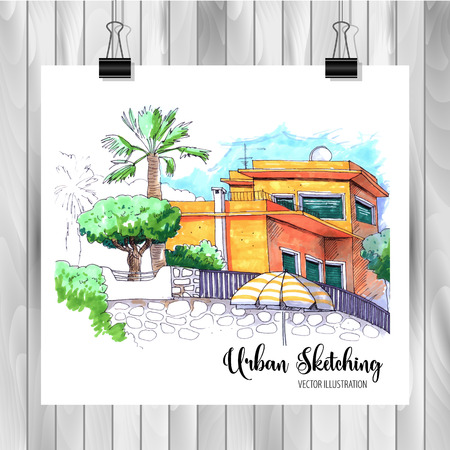 Hand drawn City Sketch for your design,Drawn in color ink on white background