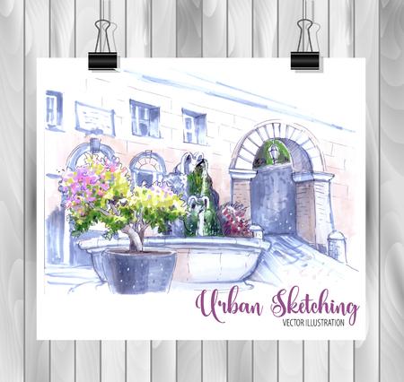 Croquis de ville dessiné à la main pour votre conception, dessiné à l'encre de couleur sur fond blanc Vecteurs