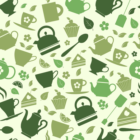Green tea set vector icons on green.