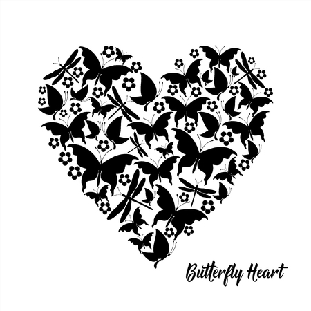 red heart, butterflies valentine card