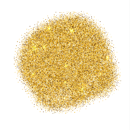 Gold sparkles on white background. Gold glitter background. Ilustração
