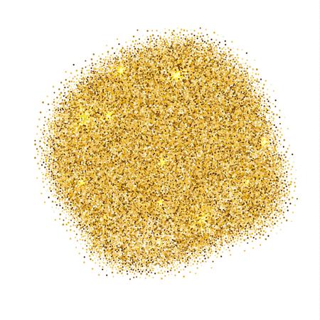 Gold sparkles on white background. Gold glitter background. Illustration