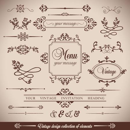 Vintage wektor zestaw. Kwiatowe elementy do projektowania monogramów, zaproszeń, ramek, menu, etykiet i stron internetowych.