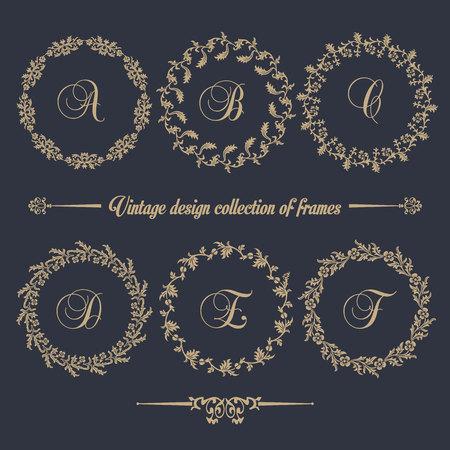 Conjunto de vectores vintage. Elementos florales para diseño de monogramas, invitaciones, marcos, menús, etiquetas y sitios web.