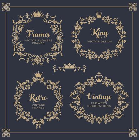 Vintage vector Set. Floral elements for design of monograms, invitations, frames, menus, labels and websites. Vettoriali