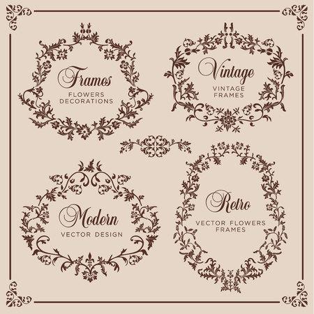 Insieme di vettore dell'annata. Elementi floreali per la progettazione di monogrammi, inviti, cornici, menu, etichette e siti web.