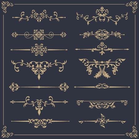 Conjunto de vectores vintage. Elementos florales para diseño de monogramas, invitaciones, marcos, menús, etiquetas y sitios web. Ilustración de vector