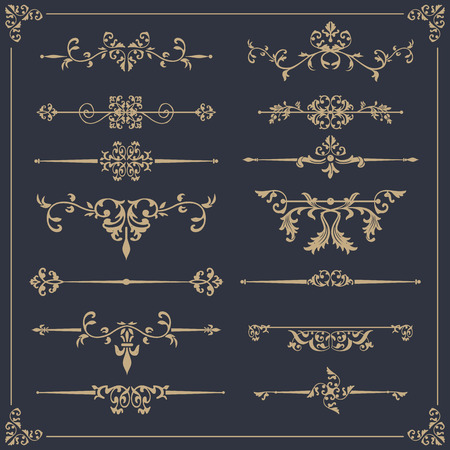 Vintage vector Set. Floral elements for design of monograms, invitations, frames, menus, labels and websites. Çizim