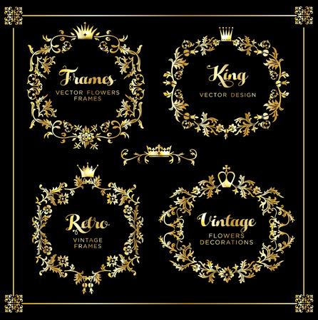 Uitstekende vectorreeks. Floral elementen voor het ontwerpen van monogrammen, uitnodigingen, frames, menu's, labels en websites. Vector Illustratie
