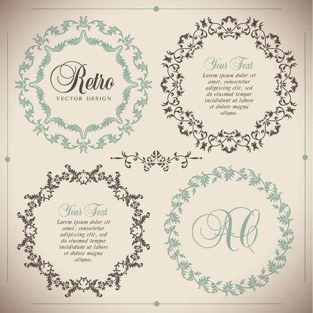 Vintage vector Set. Floral elements for design of monograms, invitations, frames, menus, labels and websites. Stock Illustratie