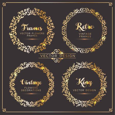 Vintage vector Set. Floral elements for design of monograms, invitations, frames, menus, labels and websites. Illustration