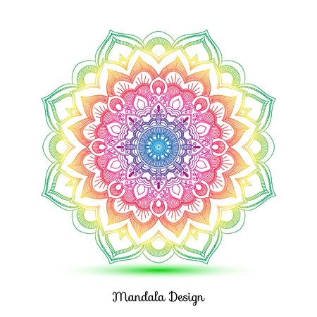 Decoratieve Arabische ronde mandala van kantdecor. Vintage vector patroon voor print of webdesign. Mandala abstracte kleurrijke achtergrond. Uitnodiging, trouwkaart, nationaal ontwerp. Vector Illustratie