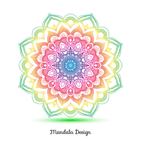 Decorative arabic round lace decor mandala. Vintage vector pattern for print or web design. Mandala abstract colorful background. Invitation, wedding card, national design. Иллюстрация
