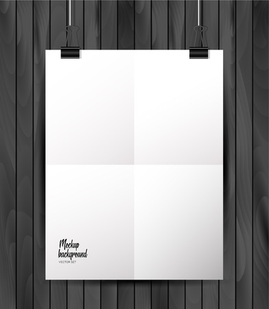 Empty paper sheet. A4 format paper with shadows on the layout on wooden background. Illustration