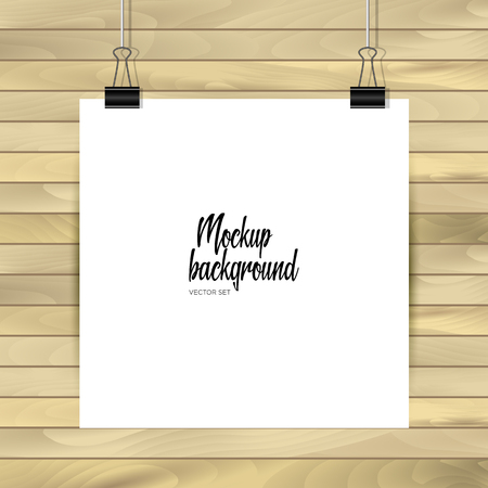 Empty paper sheet. Square format paper with shadows on the layout on wooden background. Vector Illustration.