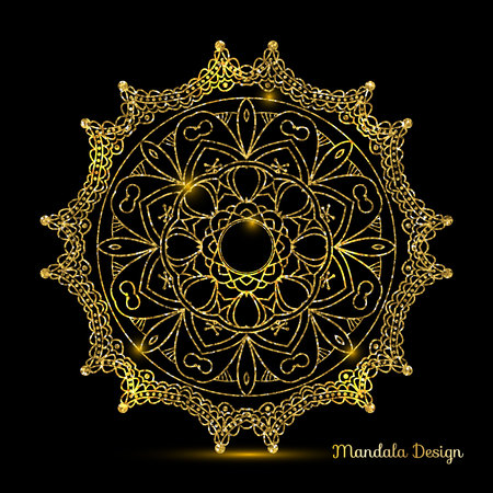 Decorative arabic round lace decor mandala. Vintage vector pattern for print or web design. Mandala abstract golden background.