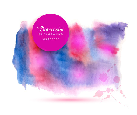 Watercolored splash blot in blue and violet and pink color