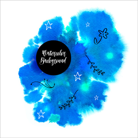 Watercolored splash blot in blue color. Vector illustration.