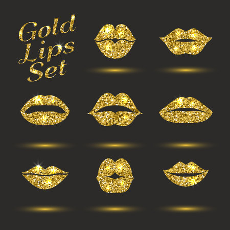 Lips gold set. Design glitter element. vector icon. Vector illustration of kiss print with shimmer 写真素材 - 122526526