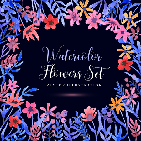 Seamless watercolor floral pattern on a daek background