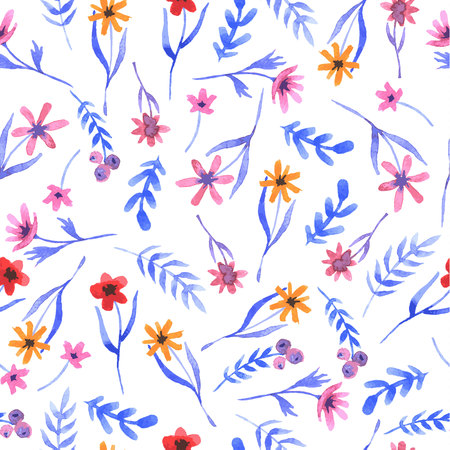 Seamless watercolor floral pattern on a white