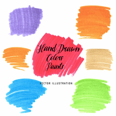 Set of Hand Drawn Flat Grunge Stains markers on White Background. Vector Illustration