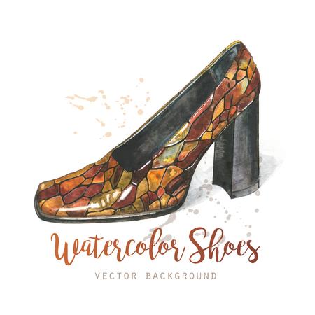 Elegant watercolor womans shoe. Design template for label, banner, postcard, flyer. Vector illustration.