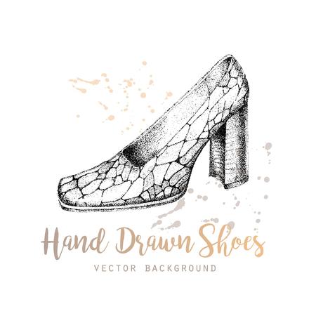 Elegant hand drawn womans shoe. Design template for label, banner, postcard, flyer. Vector illustration. Illustration